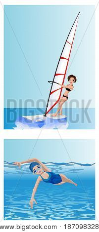 Vector illustration of a windsurfer and swimmer