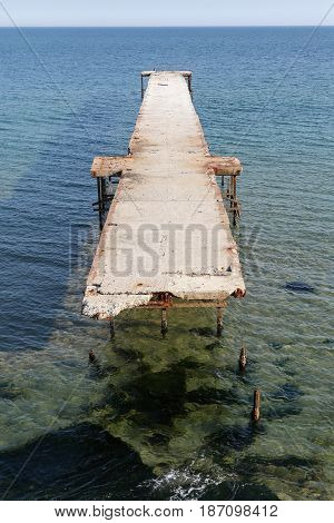 The old pier on the sea in Bulgaria