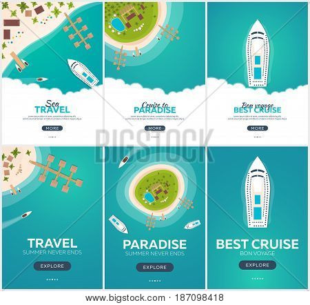 Set Of Summer Travel Banner. Sea Travel. Summer Time. Hello Summer. Cruise To Paradise. Beach, Sea A