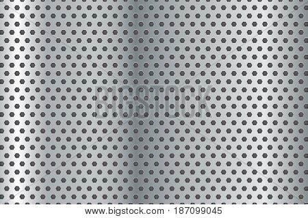Metal plate with hole. Steel  vector background