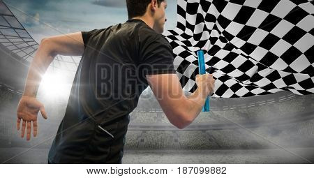 Digital composite of Relay runner against stadium with flares and checkered flag