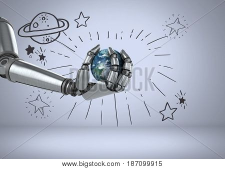 Digital composite of Android hand holding planet earth with telescope and planet and stars astronomical graphic drawings