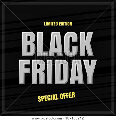 Black Friday banner Vector banner for advertising discounts promotions. Special offer.
