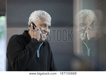 Black man talking on cell phone