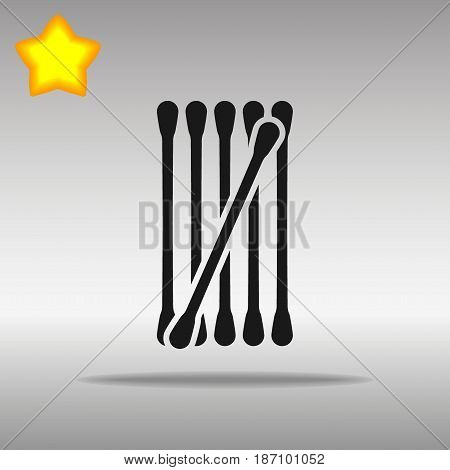 cotton buds black Icon button logo symbol concept high quality on the gray background