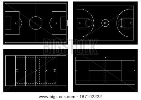Basketball court. Tennis court. American football field. Sport set. Soccer field. football stadium Top view. Vector illustration isolated on white background
