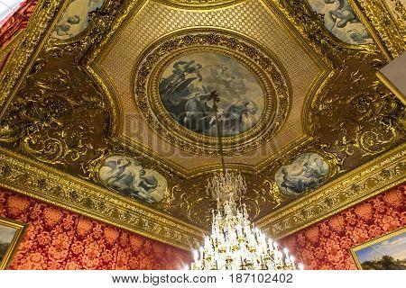 Interiors Details Ofthe Louvre Museum, Paris, France