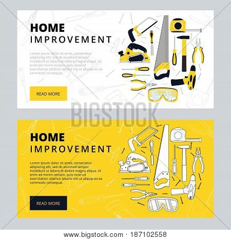 Home Improvement Corporate Web Banner Template. House Construction Website Layout. Renovation Backgr
