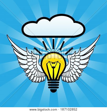 Illustration of bulb with wings as a symbol of ideas.