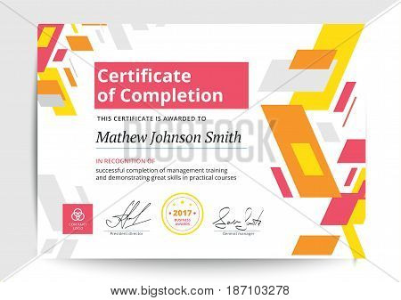 Certificate Of Completion Template In Modern Design. Business Diploma Layout For Training Graduation