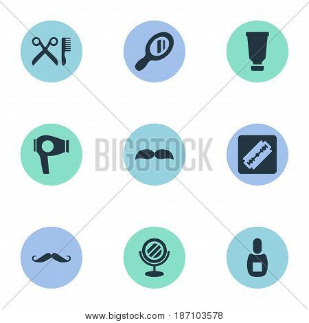 Vector Illustration Set Of Simple Beautician Icons. Elements Whiskers, Beard, Reflector And Other Synonyms Drying, Mustache And Glass.