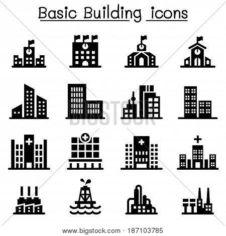 Building icon set Vector illustration Graphic design