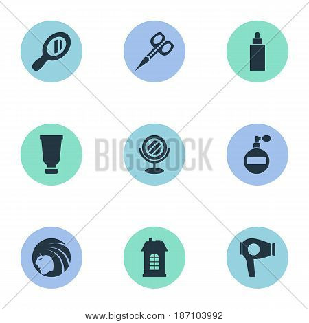 Vector Illustration Set Of Simple Hairdresser Icons. Elements Aroma, Reflector, Cut Tool And Other Synonyms Tube, Construction And Container.