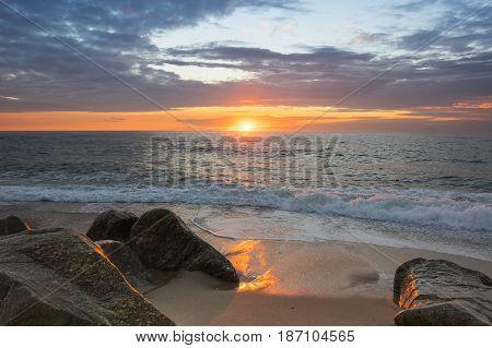 The coast of Atlantic ocean on sunset Portugal