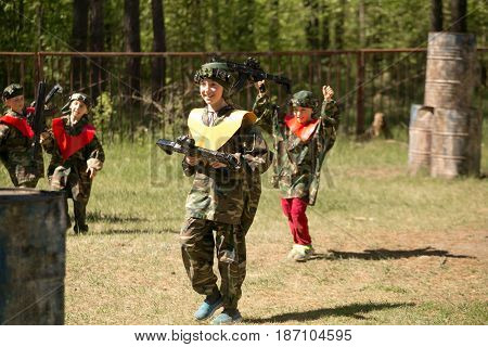 Gomel, Belarus - May 15, 2017: Children And Adults Play The Collective Game Lasertag In The Open Air