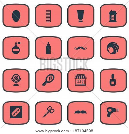 Vector Illustration Set Of Simple Barber Icons. Elements Reflector, Beard, Peeper And Other Synonyms Supermarket, Smell And Beautiful.