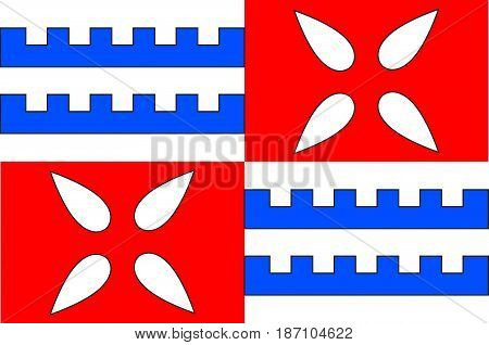 Flag of Muret is a commune in the Haute-Garonne department of which it is a subprefecture in the Occitanie region of southwestern France. Vector illustration