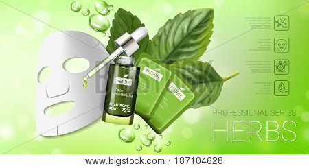Herbal skin care mask ads. Vector Illustration with herbal smoothing mask and serum. Horizontal banner.