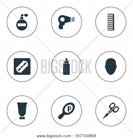 Vector Illustration Set Of Simple Barber Icons. Elements Blow Dryer, Shaver, Cut Tool And Other Synonyms Bottle, Perfume And Tool.