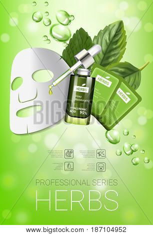 Herbal skin care mask ads. Vector Illustration with herbal smoothing mask and serum. Vertical poster.