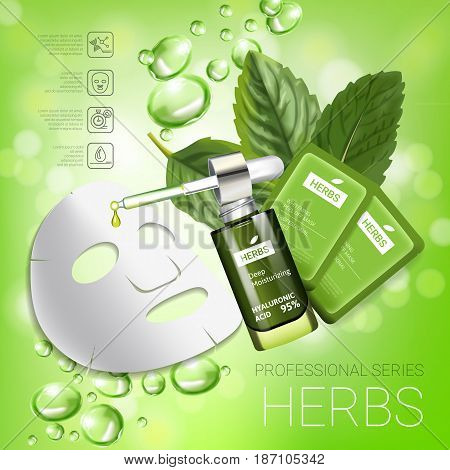 Herbal skin care mask ads. Vector Illustration with herbal smoothing mask and serum. Poster.