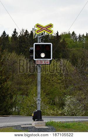 Signaling on railway crossing. Czech Republic. Railways