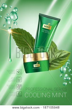Cooling mint skin care series ads. Vector Illustration with mint leaves smoothing cream tube and container. Vertical poster.