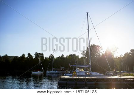 Pontoon and group of yachts in water on sunny day