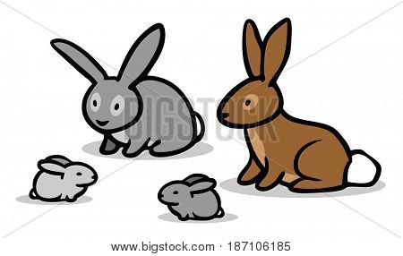 Cute cartoon bunny and rabbit with offspring