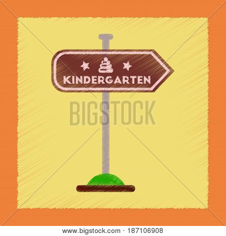 flat shading style icon of sign kindergarten