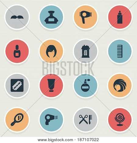 Vector Illustration Set Of Simple Hairdresser Icons. Elements Aroma, Hair, Beard And Other Synonyms Glass, Whiskers And Aroma.