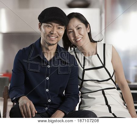 Smiling Japanese couple