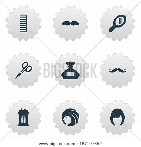 Vector Illustration Set Of Simple Beautician Icons. Elements Glamour Lady, Reflector, Beard And Other Synonyms Architecture, Girl And Woman.