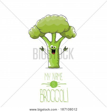 vector funny cartoon cute green broccoli character isolated on white background. My name is broccoli vector concept. vegetable funky character