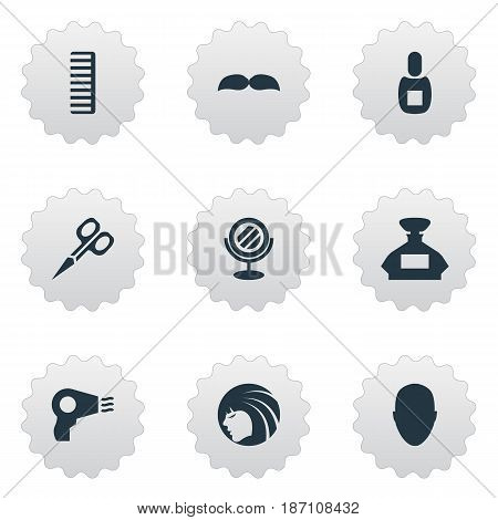 Vector Illustration Set Of Simple Beautician Icons. Elements Glamour Lady, Peeper, Blow Dryer And Other Synonyms Hair, Clipper And Hairdryer.