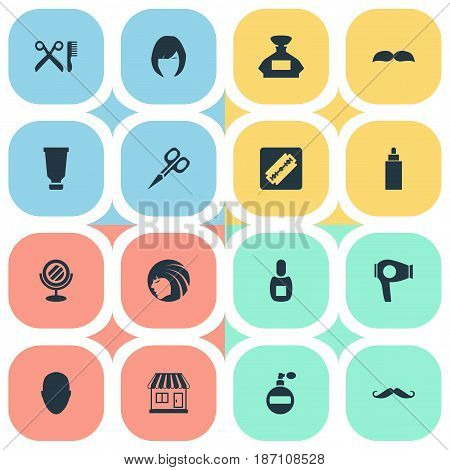 Vector Illustration Set Of Simple Beautician Icons. Elements Container, Supermarket, Drying Machine And Other Synonyms Whiskers, Girl And Razor.