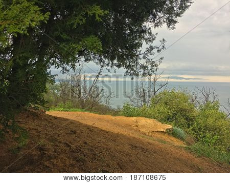 High angle view sea sky and seaside bay from mountain viewpoint in Galata cape Varna Bulgaria