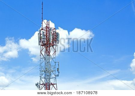 Signal towers in the blue sky background