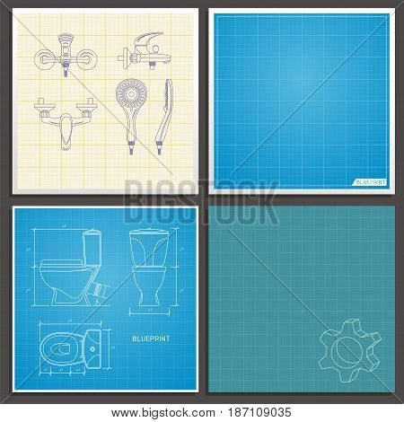 Toilet bowl and faucet outline. Front side and top view. Vector illustration on blueprint