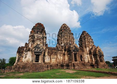 Temple or pagoda made from sand stone called Pra Prang Sam Yod in Thailand