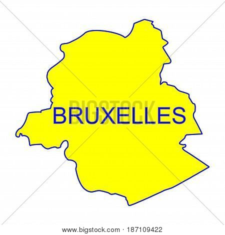 Bruxelles city map vector with yellow color