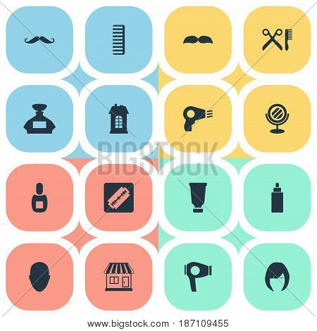 Vector Illustration Set Of Simple Hairdresser Icons. Elements Peeper, Premises, Scent And Other Synonyms Perfume, Machine And Mustache.