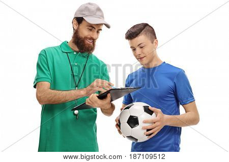 Soccer coach advising a teenage player isolated on white background