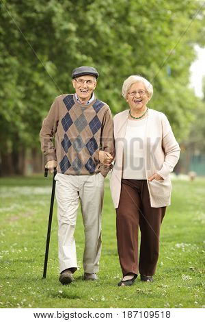 Full length portrait of a happy mature couple walking towards the camera in a park