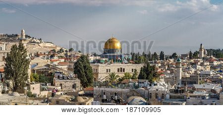 JERUSALEM ISRAEL - DECEMBER 8: View of Dome of the Rock and Muslim quarter from the wall in the Old City of Jerusalem Israel on December 8 2016
