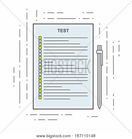 The test icon in linear flat style. Poll, Exam or Checklist. Single sign