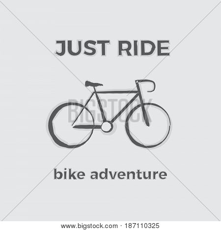 JUST RIDE bike adventure Illustration in gray colors