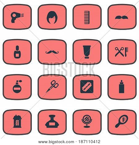 Vector Illustration Set Of Simple Hairdresser Icons. Elements Premises, Reflector, Barber Tools And Other Synonyms Looking-Glass, Woman And Clipper.