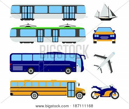 Set Of Flat Urban Transport Icon. Cartoon Vector Illustration