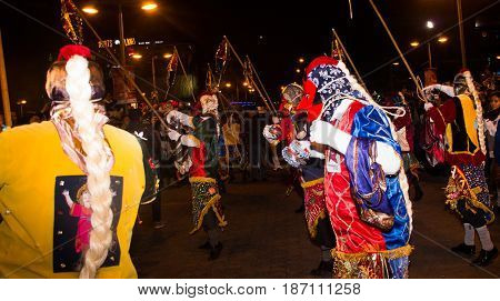 Quito, Ecuador - february 02, 2016: An unidentified man dressed up participating in the Diablada, with a colorful customs.